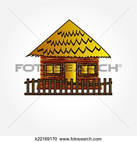 Clipart of hut on island vector,home vector k22169170.