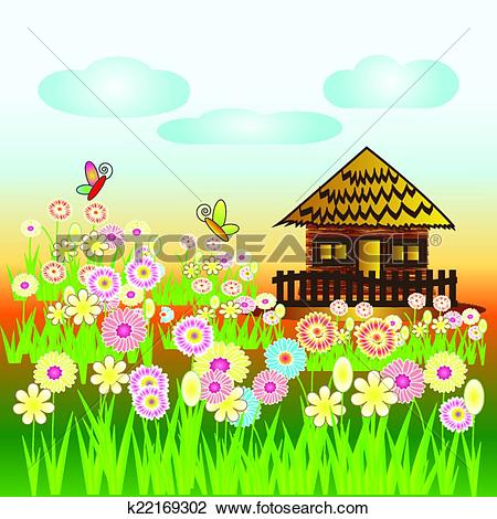 Clipart of hut on island vector,home vector k22169302.