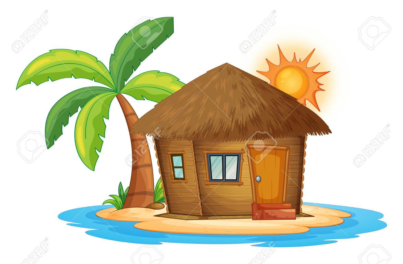 Island hut clipart.