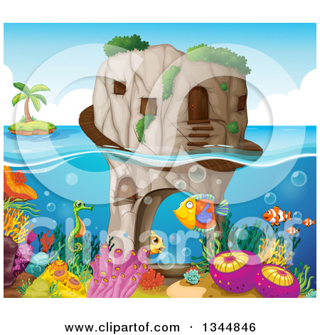 Clipart of a Stone Ocean Home over a Reef and Tropical Fish with.