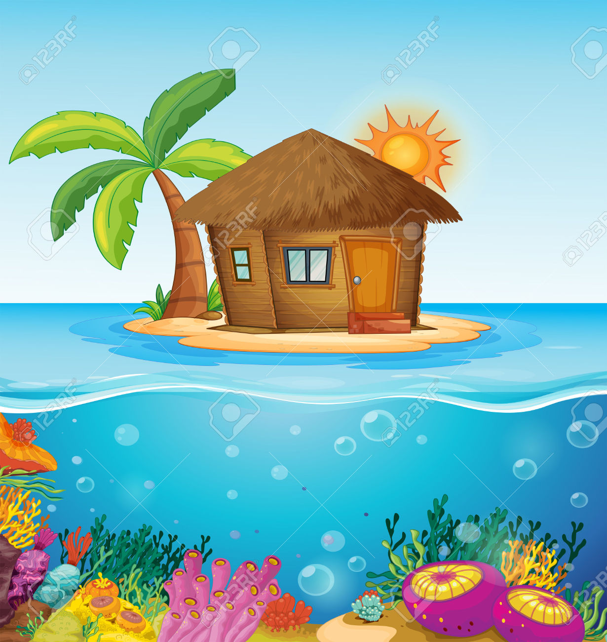 Illustration Of A House On A Desert Island Royalty Free Cliparts.