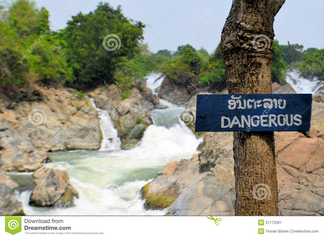 Dangerous Sign At Somphamit Waterfall, Mekong Stock Photo.
