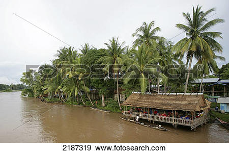 Stock Photograph of Building filled with people along the Mekong.