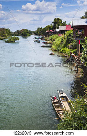 Stock Photo of The island of Don Det on the Mekong River along the.