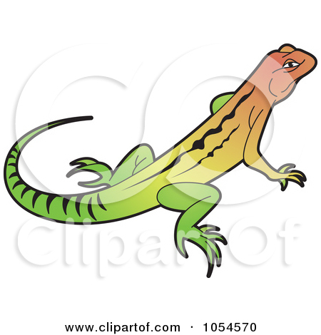 Clipart of a Cartoon Relaxed Iguana Lizard Waving Drinking Iced.