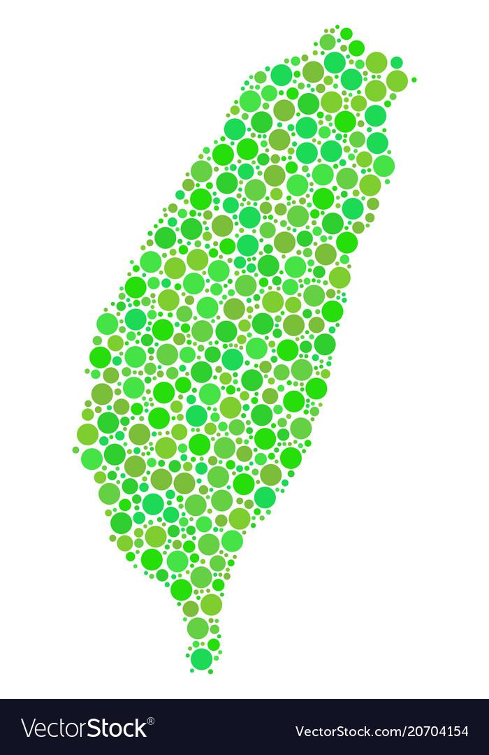 Taiwan island map mosaic of circles.