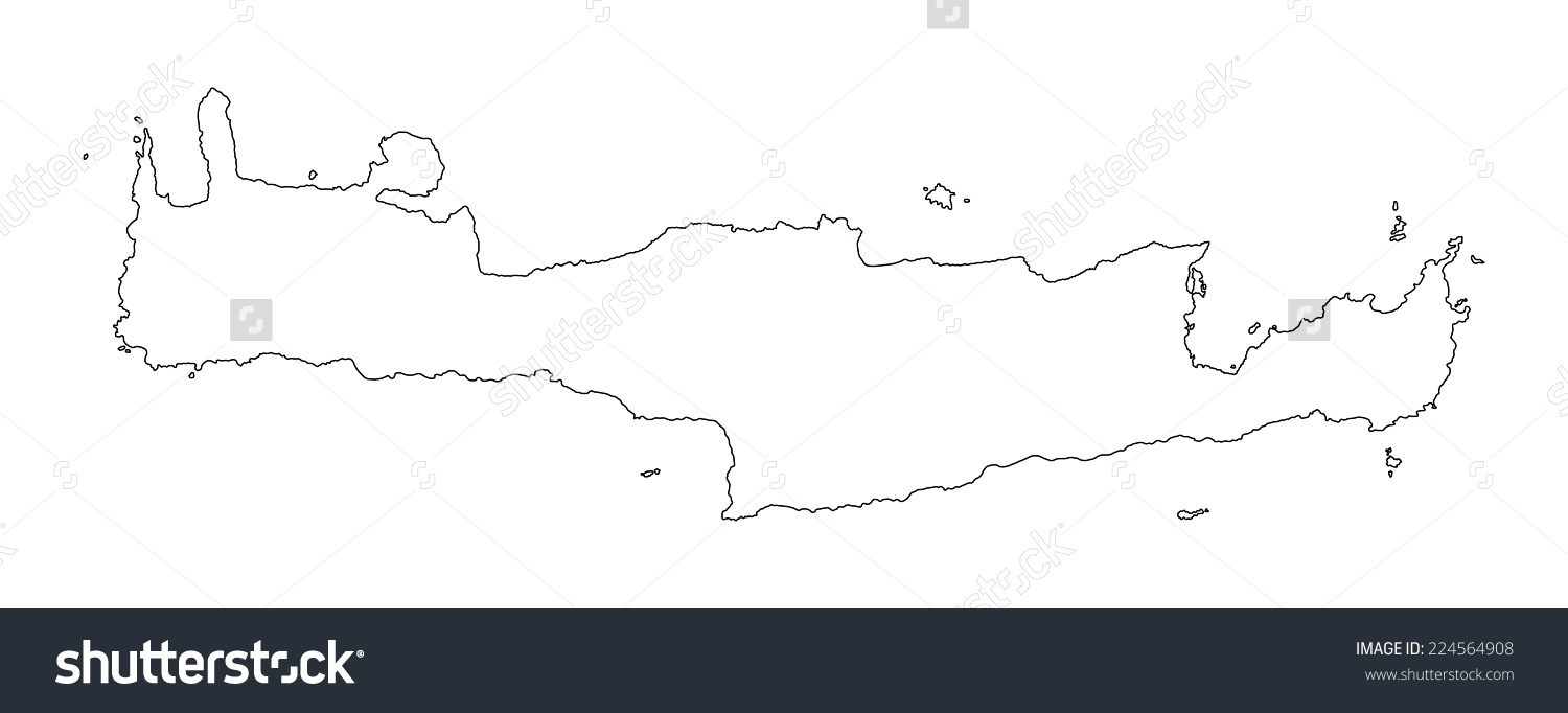 Crete Vector Map High Detailed Isolated Stock Vector 224564908.