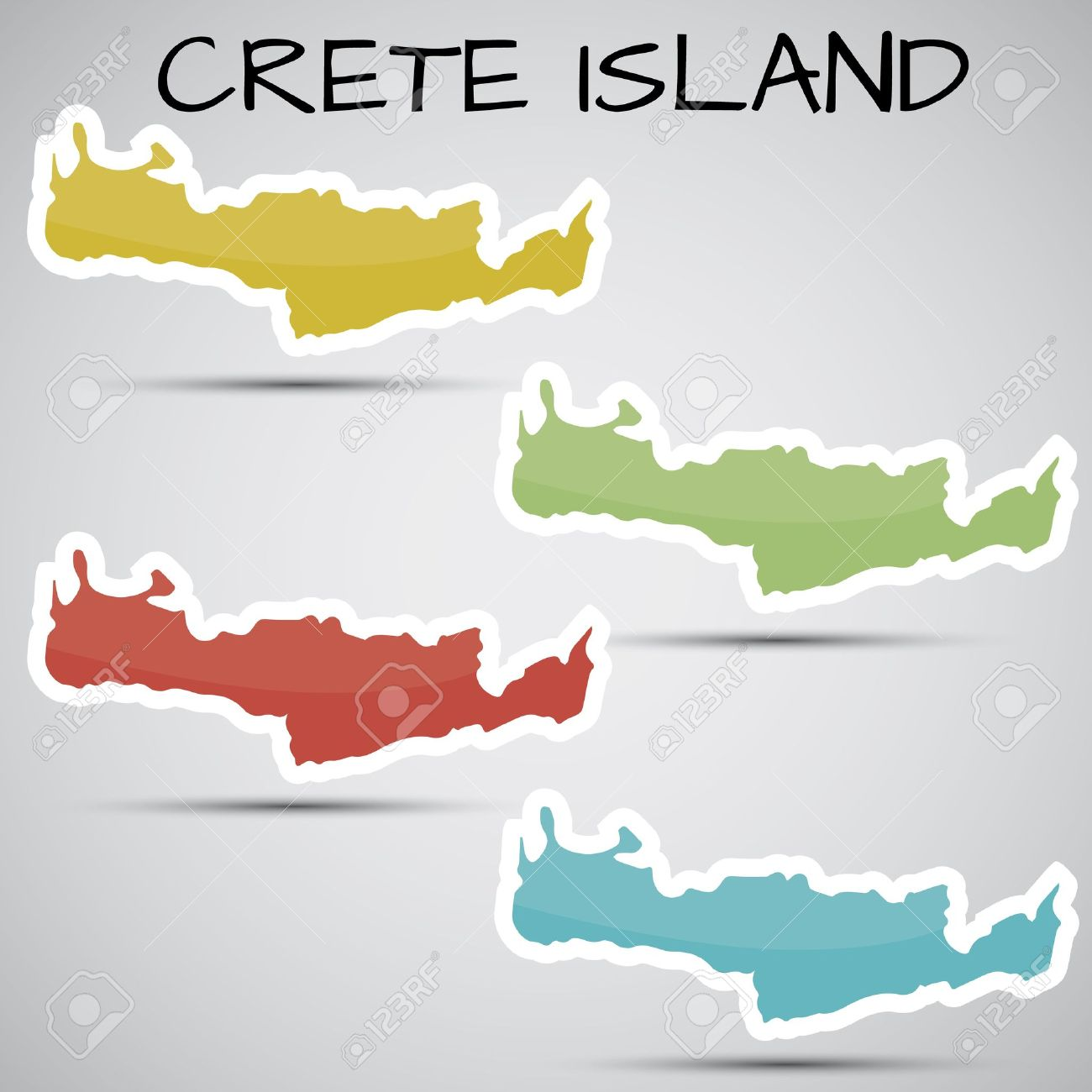 Stickers In Form Of Crete Island, Greece Royalty Free Cliparts.