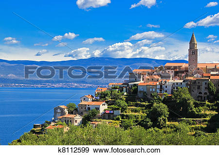 Stock Photograph of Adriatic Town of Vrbnik , Island of Krk.