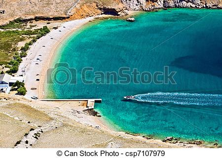 Stock Photographs of Vela luka turquoise beach aerial, Krk.