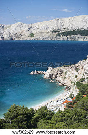 Stock Photograph of Croatia, View of Bunculuka beach at Krk island.