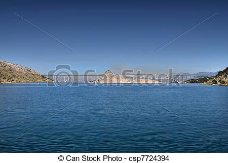 Stock Photo of Island of Krk bridge over Sea, Croatia csp7724394.