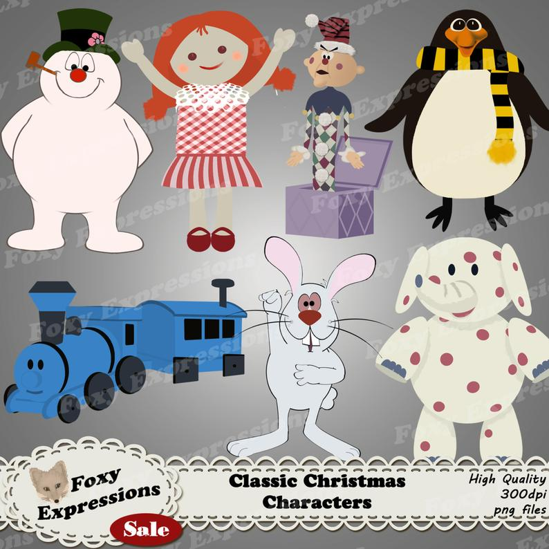 Classic Christmas Characters digital clip art pack comes with Frosty,  topper, rabbit, & the gang of misfit toys like charlie in the box,etc.