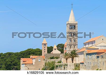 Stock Image of Croatian island of Rab, view on city and.