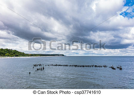 Stock Photography of Groynes in Heringsdorf on the island Usedom.