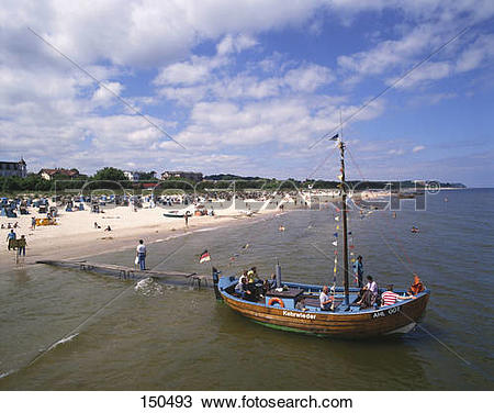 Stock Photo of People on boat at beach, Usedom Island, Mecklenburg.