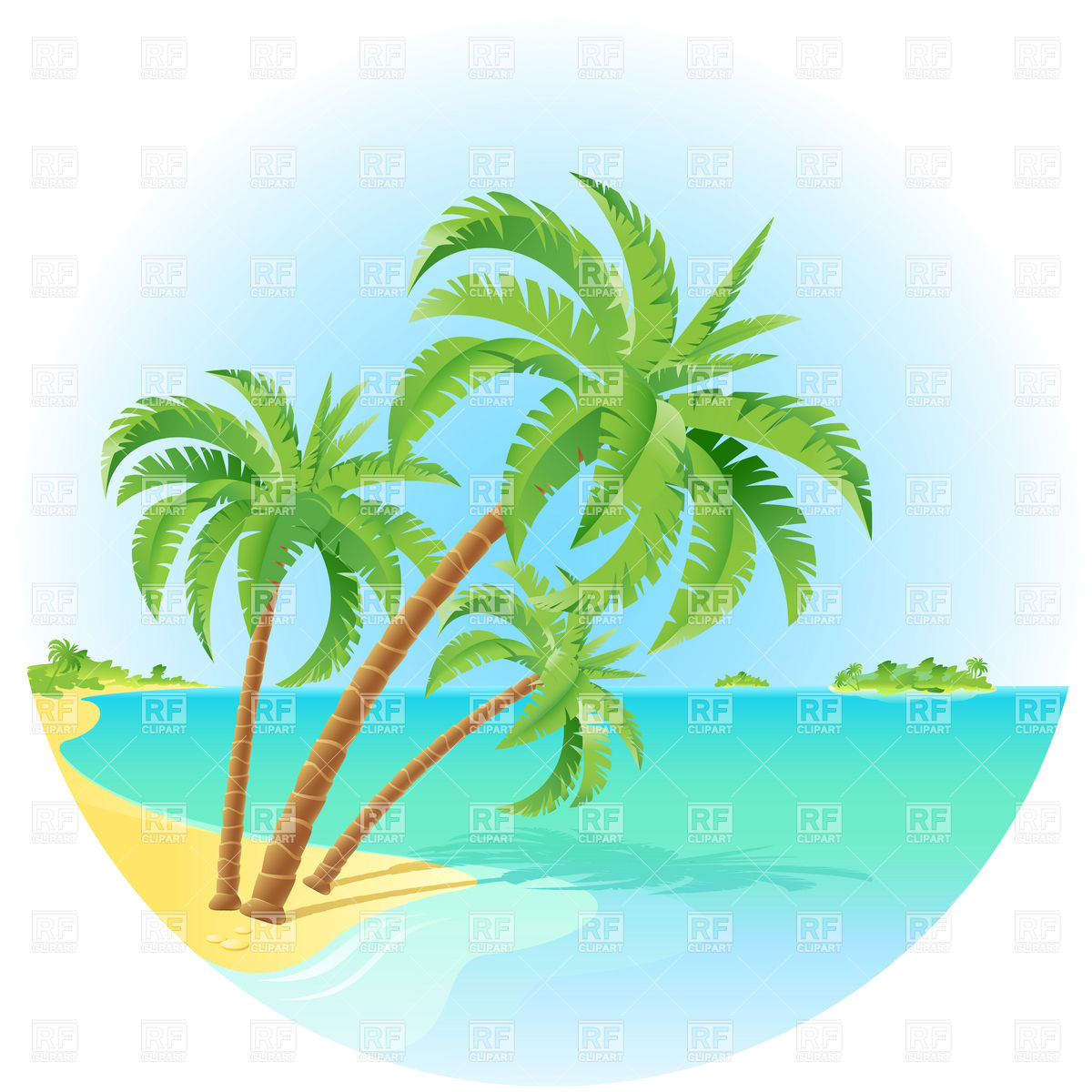 Island With Palm Tree Clipart.