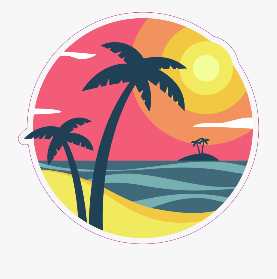 Sunrise With Palm Trees On A Tropical Island Sticker.