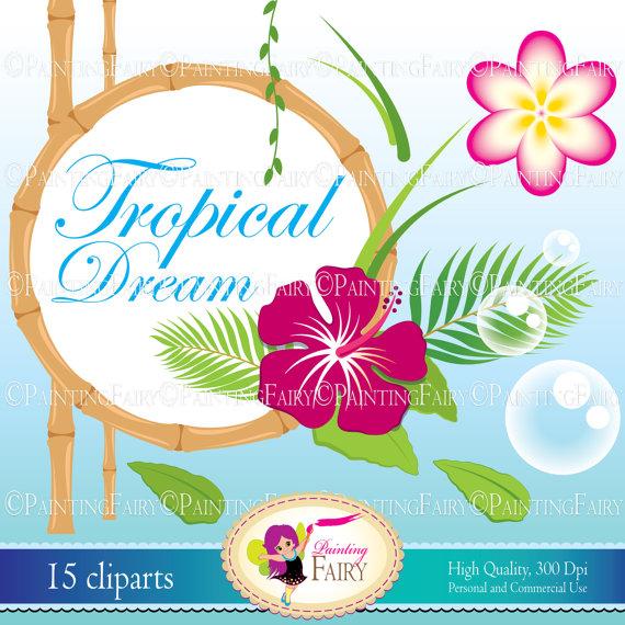 INSTANT DOWNLOAD Digital ClipArt Tropical Dream cute Magnolia.
