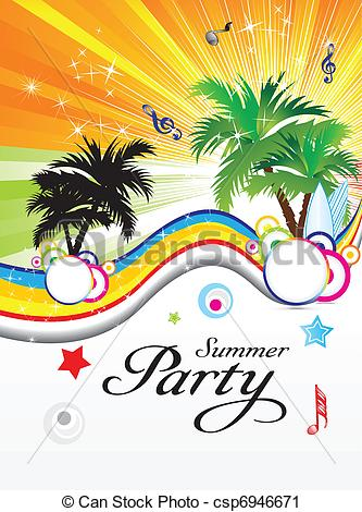 Vector Clip Art of abstract summer party theme vector illustration.
