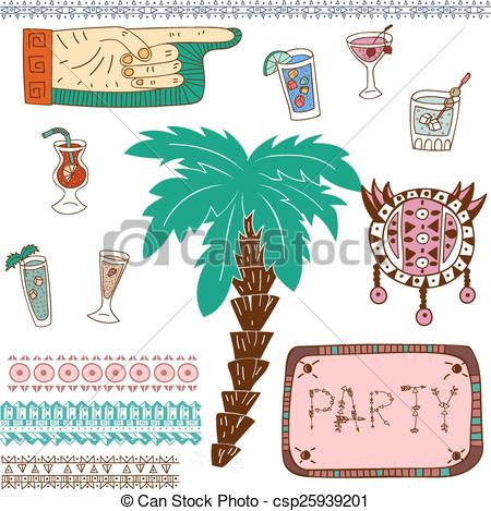 Vector Clipart of Tiki island party set csp25939201.