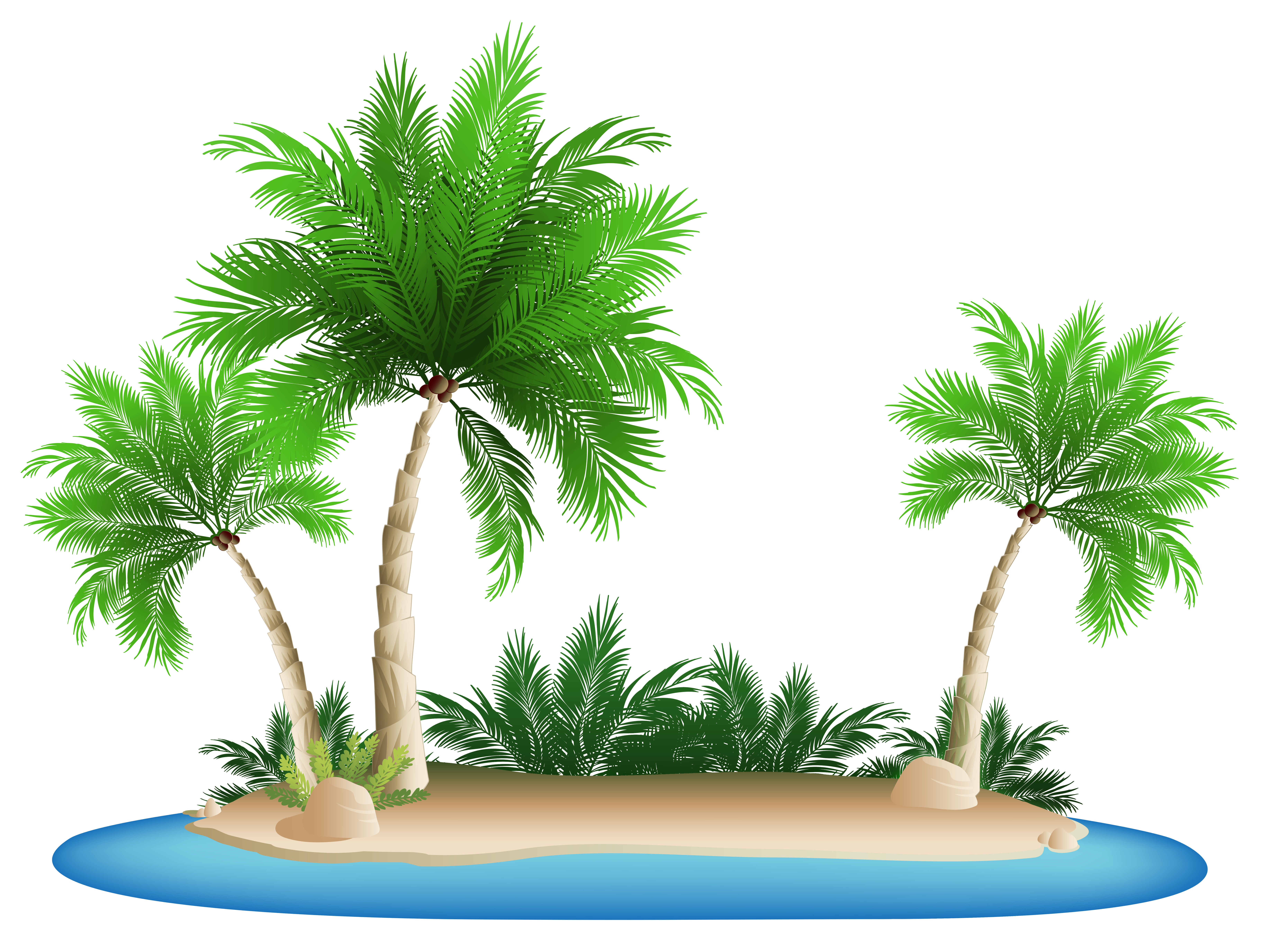 Palm Trees Island PNG Clipart Picture.