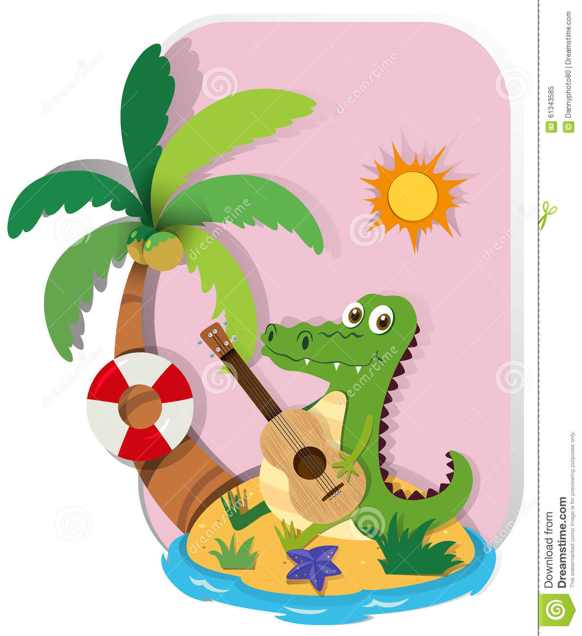 Crocodile Playing Guitar On Island Stock Vector.