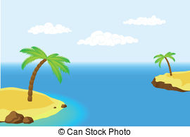 Clipart Vector of Island with a palm.