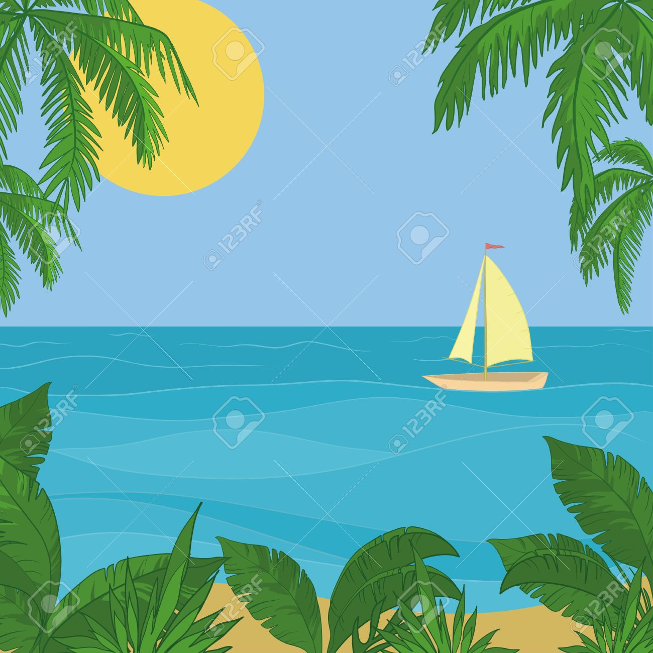 Sailing Ship Floating In The Blue Sea, The View From A Tropical.