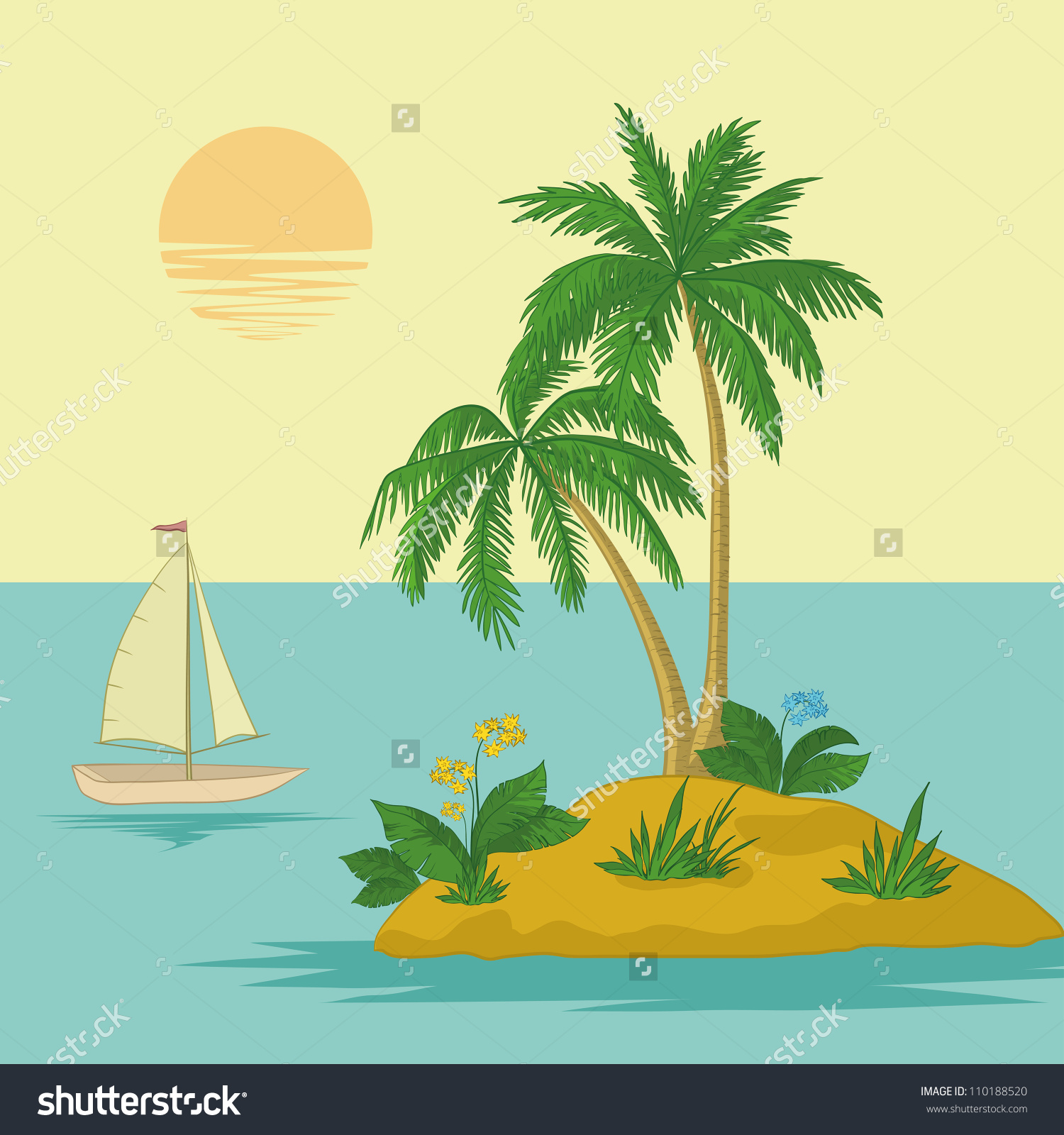 Ship Sun Tropical Sea Island Palm Stock Vector 110188520.