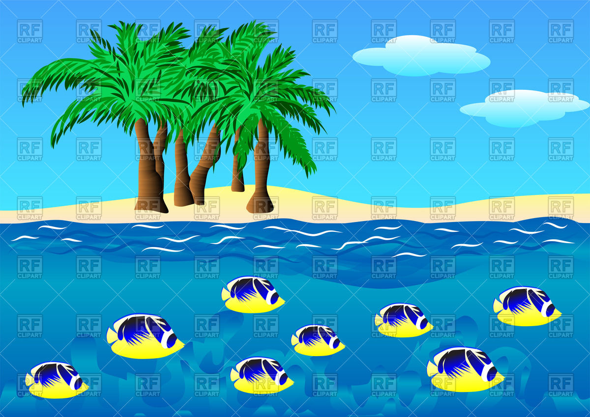 Island with palm trees and fishes in the sea Vector Image #44779.