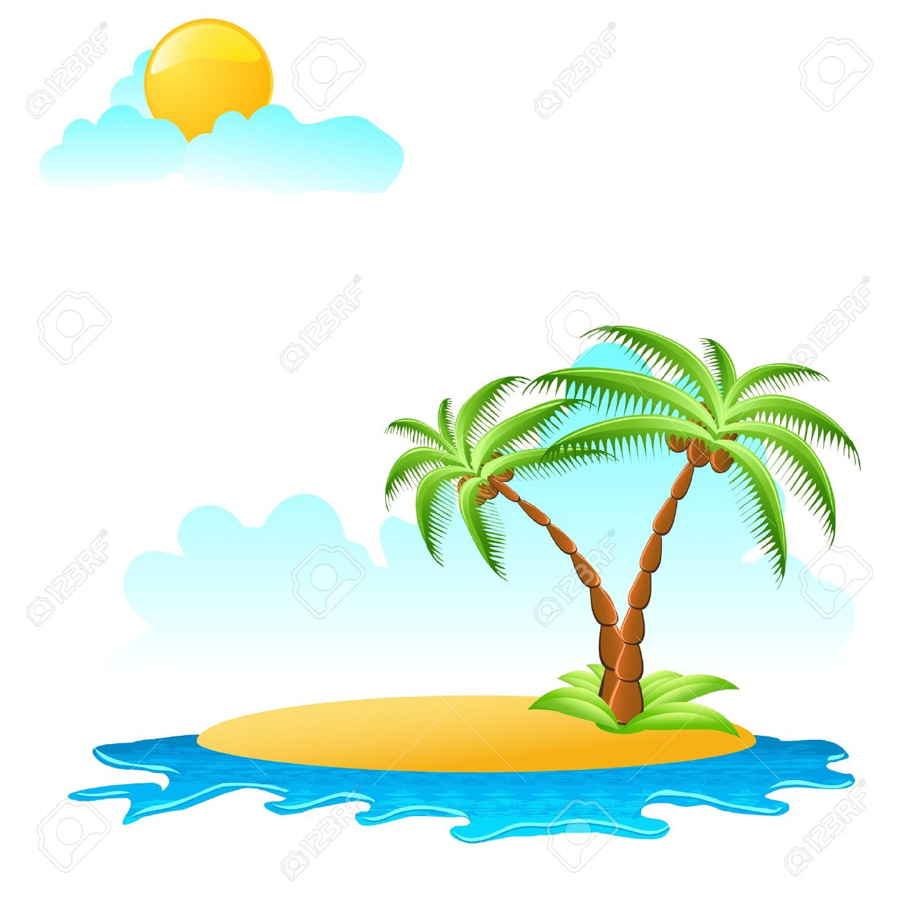 Coconut Tree Island Clipart.