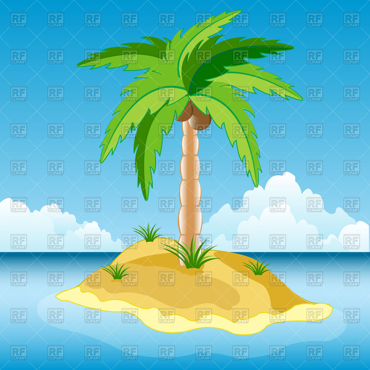 Island in sea with palm tree Vector Image #91957.