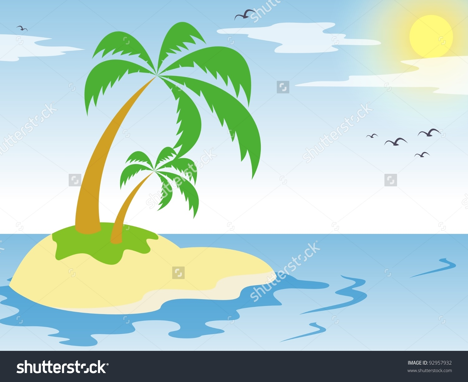 Small Isolated Private Island Beautiful Palm Stock Vector 92957932.