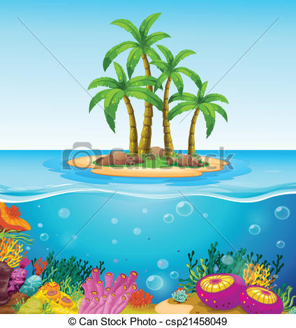 EPS Vector of A beautiful island in the middle of the sea.