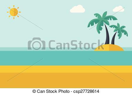 Vector Clip Art of Tropical sea island with palm trees..