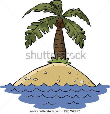 Illustration Palm Trees On Desert Island Stock Vector 104920256.