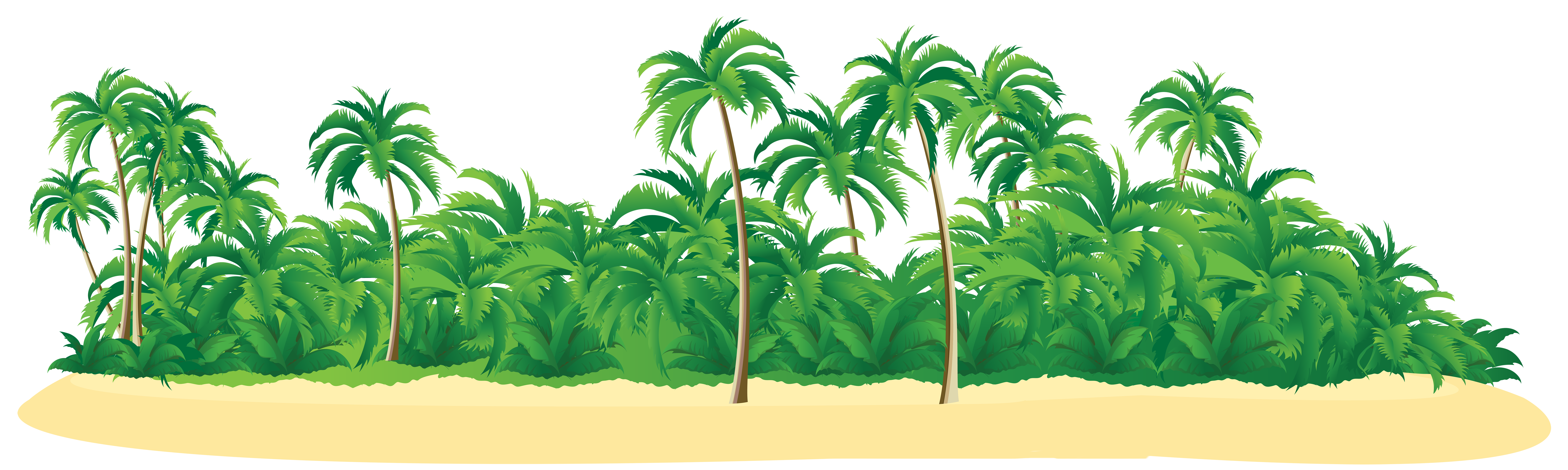 Summer Tropical Island with Palm Trees PNG Clip Art Image.