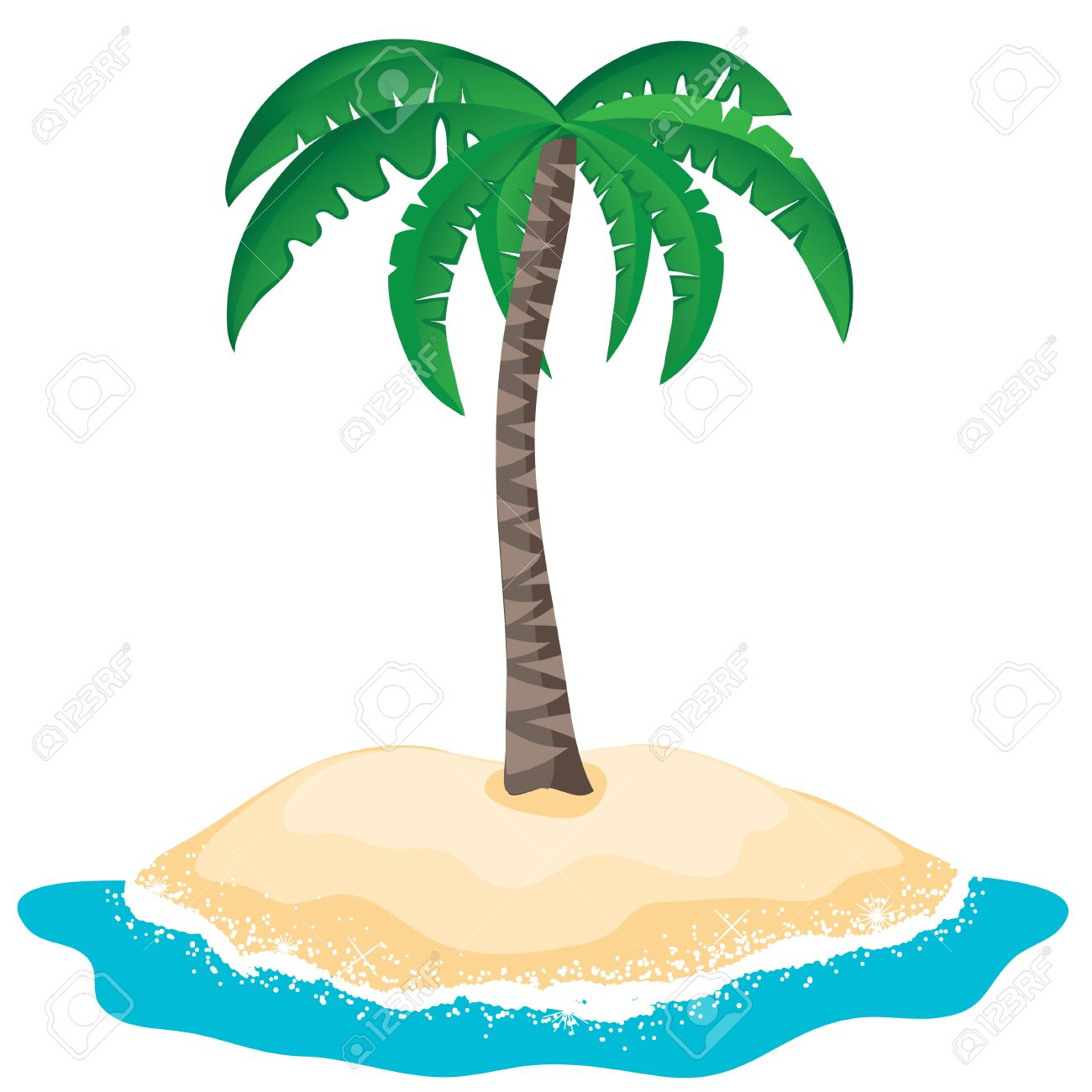 Palm Tree On The Tropical Island Royalty Free Cliparts, Vectors.