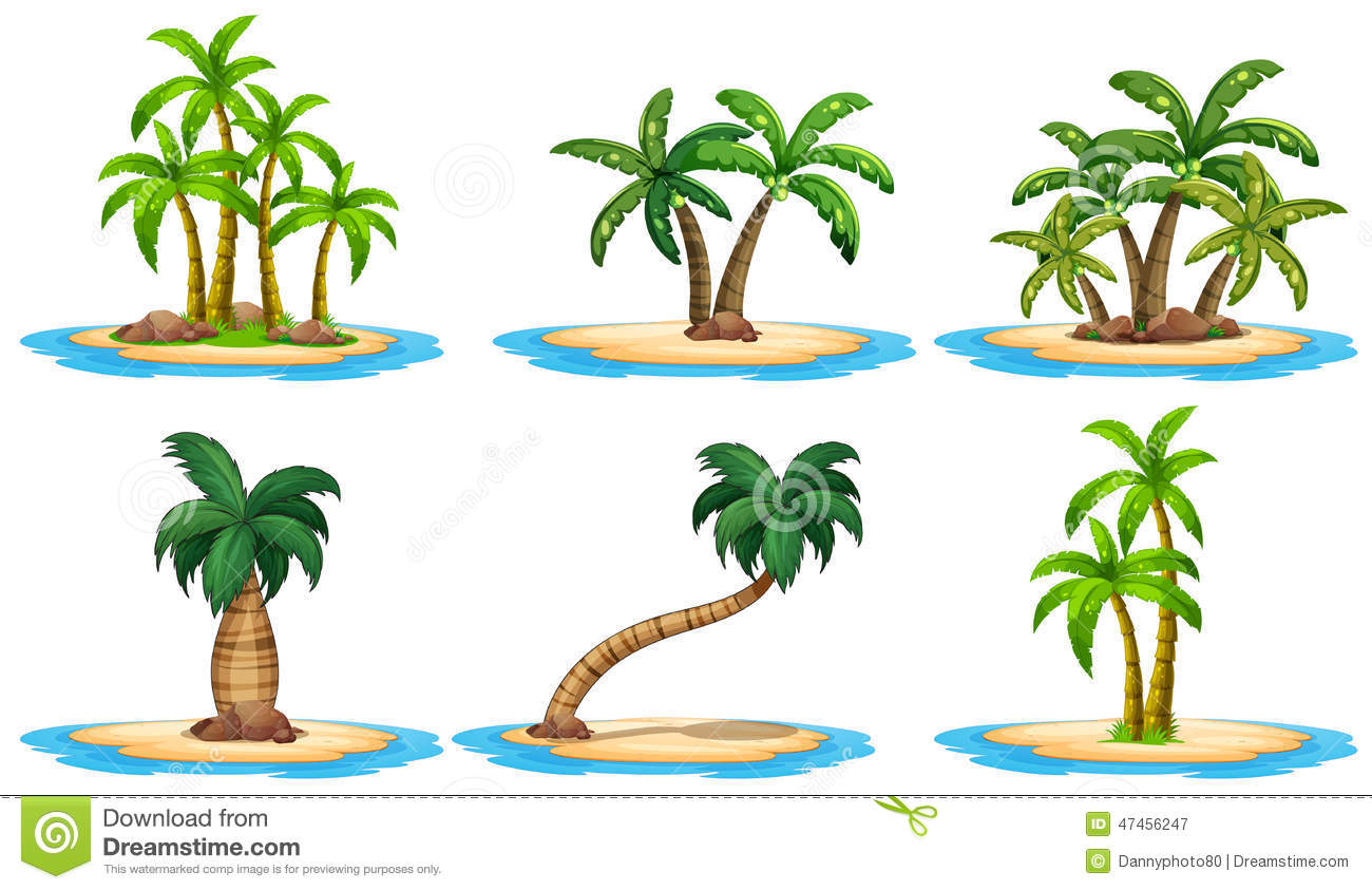 Islands And Palm Tree Stock Vector.