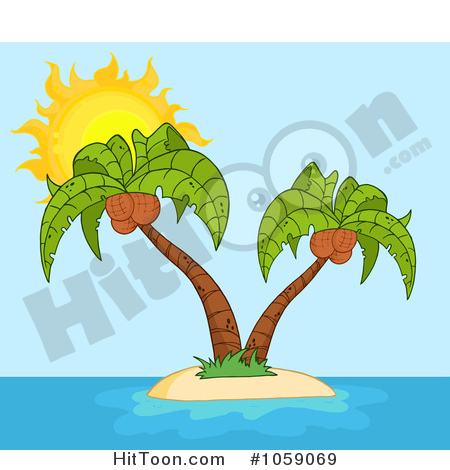 Palm Tree Clipart #1059069: Double Palm Trees on a Tropical Island.