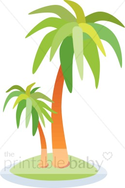 Palm Trees on Island Clipart.