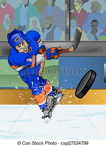 Stock Illustration of New York Islanders ice hockey player.