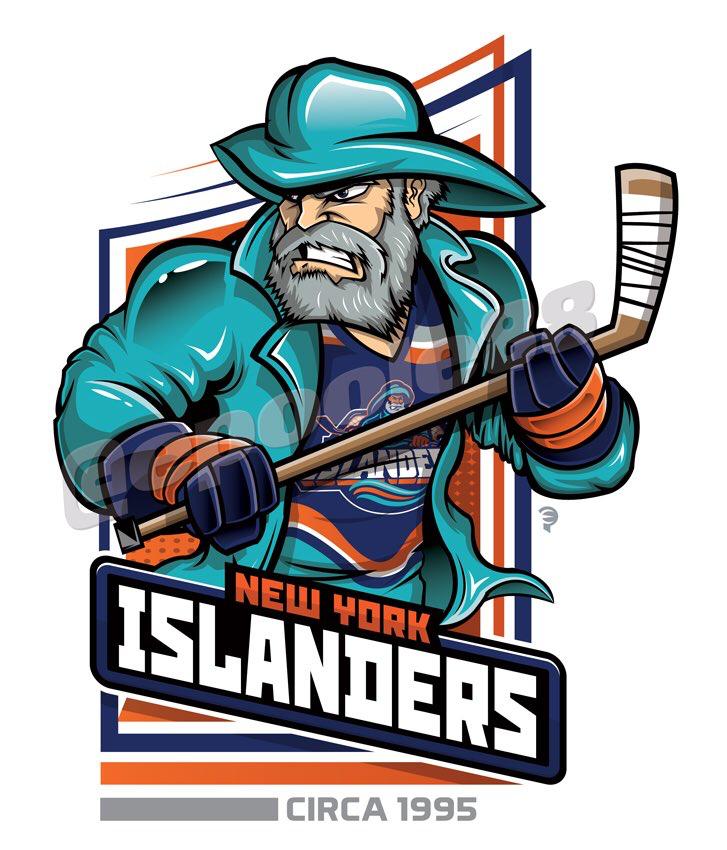 A fisherman wearing the 1995 New York Islanders jersey.
