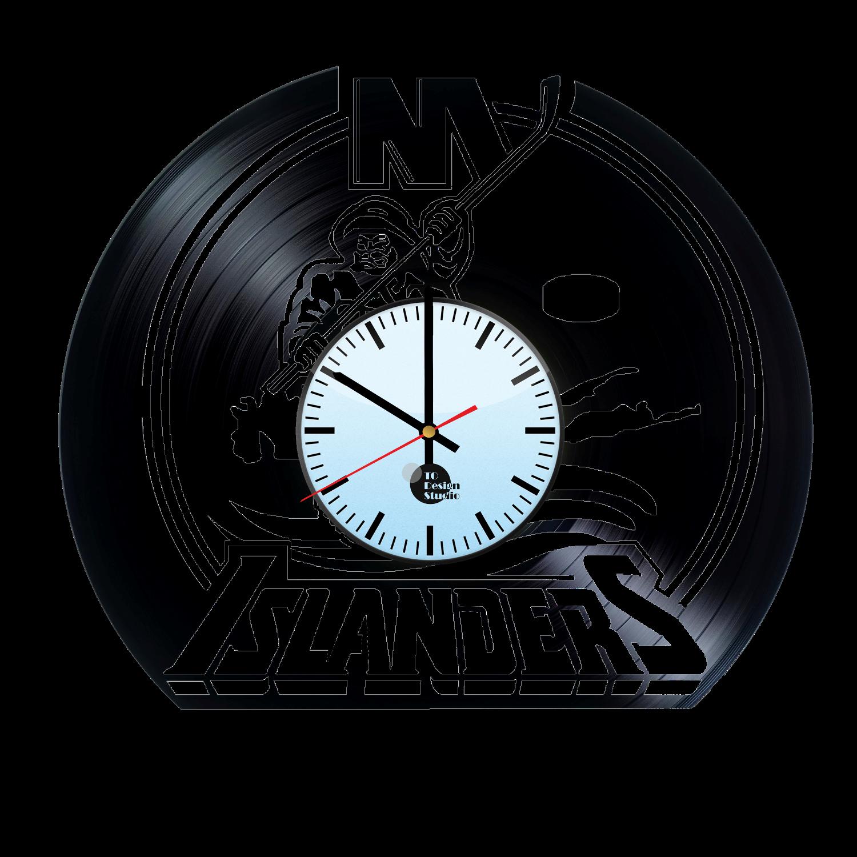 New York Islanders Fisherman Logo Handmade Vinyl Record Wall Clock Fan Gift.