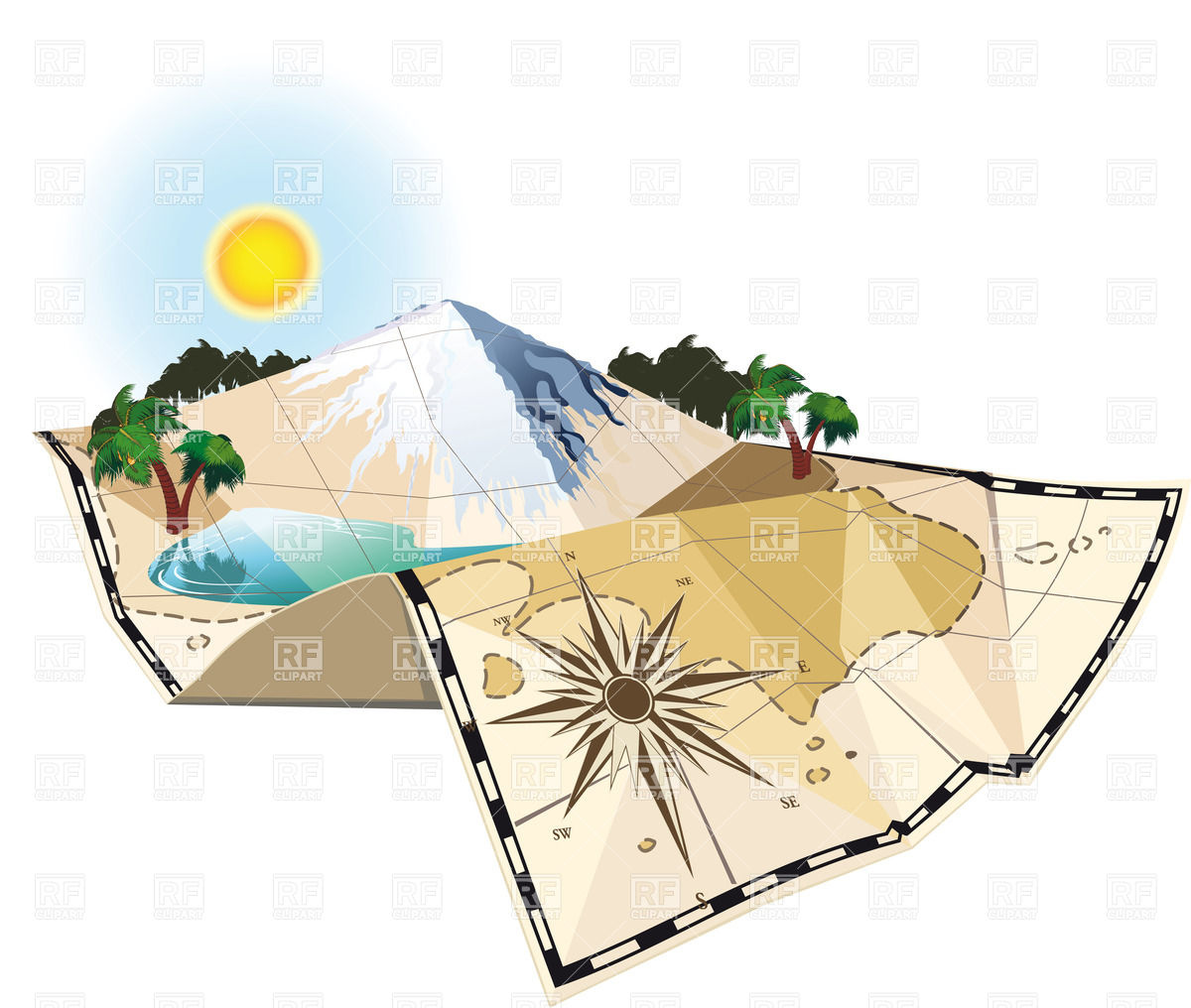 Old map of island, mountain, lake and wind rose Vector Image.