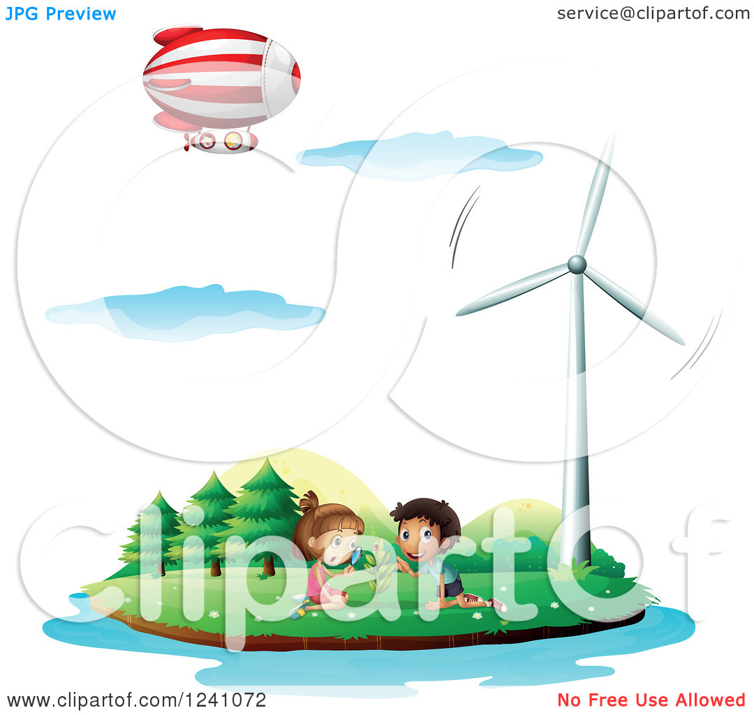 Clipart of Children Watching a Ladybug on an Island with a Wind.