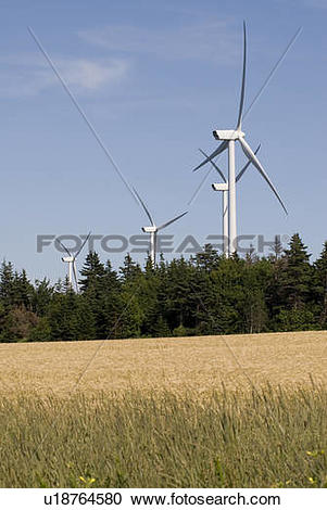Stock Photography of Wind turbines, near East Point, Prince Edward.