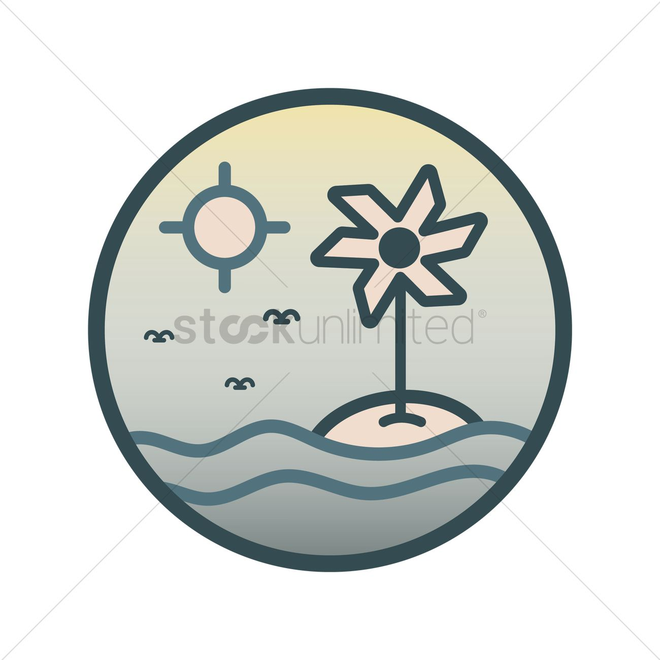 Wind turbine on an island Vector Image.