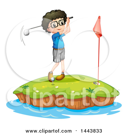 Cartoon of a Boy Golfing on a Course with Wind Turbines.